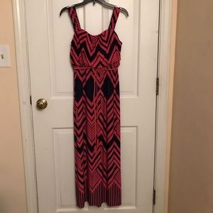 Pink Maxi Patterned Dress